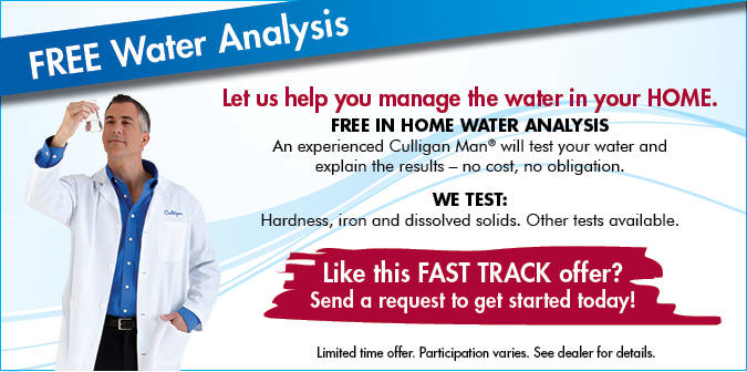 Free In-Home Water Analysis. We test hardness, iron, and dissolved solids. Other tests available,